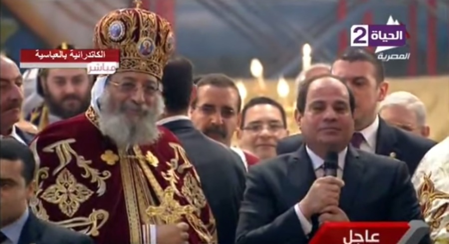 Coptic Orthodox Pope Tawadros II and Egyptian President Sisi at Mass on Christmas Day at St. Mark's Cathedral in Abassiya earlier this month. Sisi, the first Egyptian president to attend Christmas services, apologized for the destruction and promised to rebuild. Pope Tawadros was front and center at the introductory news conference when Sisi came to power after a military coup in 2013.
