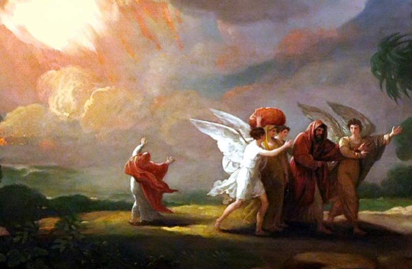 Benjamin West: Lot Fleeing Sodom. The story really does seem to be about Middle Eastern hospitality, as we saw with Abraham and these same angels at Mamre a few days ago. Abraham's lengthy negotiation with God as to how many righteous people were sufficient to spare the city indicates how completely hospitality was equated with righteousness; traveling was dangerous, and hospitality saved people's lives. As for God's destroying the cities of the plain, that appears to be theologizing after the fact, much like the Great Flood, as pre-scientific people tried to explain natural phenomena that were otherwise incomprehensible; one modern theory imagines the area was hit by a comet, or that a volcano erupted.