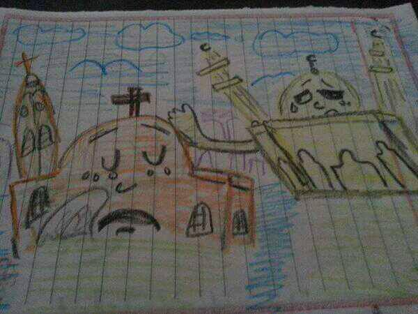 You may remember many instances across Egypt of Muslims protecting churches, providing aid and comfort to Christians during and after the violence two years ago; we featured some of them here. This schoolgirl's drawing of a mosque comforting a church went viral that year. Sisi has called on the nation's Islamic scholars to provide a moderating influence on society, but has met with resistance from the religious authorities as an encroachment on their independence. The New York Times reported the scholars are jealous for their prerogatives; meanwhile the Coptic minority, about 10% of the population, has faced discrimination for centuries.