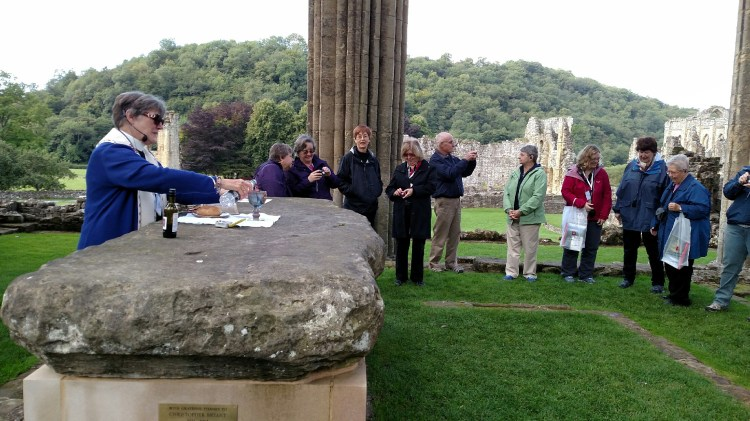 Eucharist last September for a group of pilgrims at the ruins of St. Aelred's Rievaux Abbey in North Yorkshire; the Rev. Gwynne Wright celebrated; they were alone except for many pigeons singing high above on the stone rafters. (Jill Littlefield)