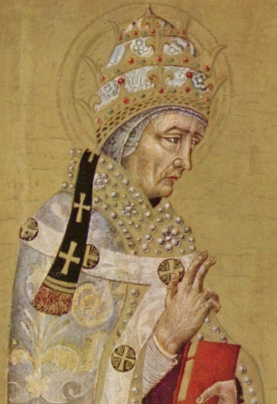 Giovanni di Paolo, c. 1450: St. Fabian. He was a layman when he was elected Bishop of Rome by acclamation; it's said that a dove landed on him in the midst of the crowd gathered for the election, which reminded everyone of the bird that came to Jesus at his baptism. As Pope, Fabian organized the parochial structure in Rome, appointed deacons and subdeacons to write the lives of martyrs so their memory wouldn't be lost, and was himself executed for the faith by the Emperor Decius, in the first persecution carried out all over the empire.
