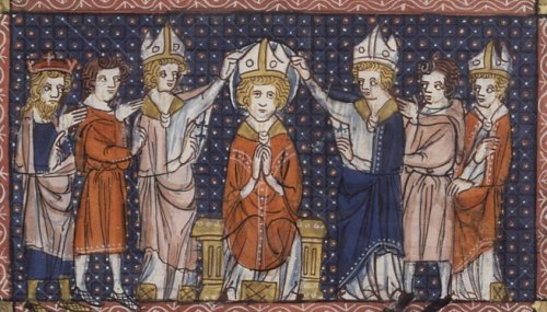 """Unknown artist, 14th C.: Consecration of St. Hilary. The Arian heretics forced him into exile for four years, though he continued to write and administer his see; the epic battle over the doctrine of the Trinity arose in the 3rd century, lasted for hundreds of years and has never entirely gone away. Arianism rests on a single sentence in the Gospel of John where Jesus says, """"The Father is greater than I."""" Arius, a priest from Alexandria, took that to mean that Jesus was created by and subordinate to the Father, not his equal – though John's Gospel begins with the assertion that """"In the beginning was the Word, and the Word was with God, and the Word was God."""" St. Hilary was one of the foremost thinkers to put down that whole train of thought, which would have led to a neglect of who Jesus was, what he said and taught and did in salvation. (Wikipedia)"""