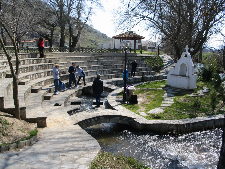 Outdoor baptistry at Philippi, considered the likely spot where St. Lydia was baptized. A modern Greek Orthodox church is nearby. (Ian W. Scott)