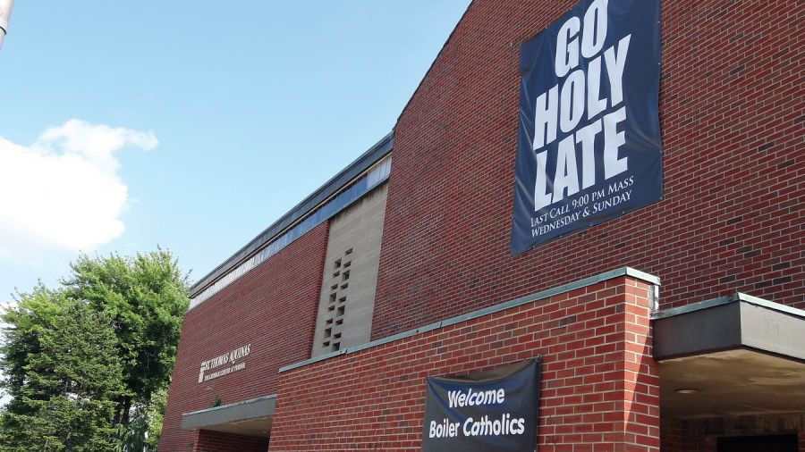 """The best homily I ever saw – it was a slide show, not a verbal exposition of Holy Scripture – took place at midnight Mass years ago at the St. Thomas Aquinas Center at Purdue University in West Lafayette, Indiana. It showed dozens of paintings by Vincent Van Gogh, accompanied by Don McLean's song """"Starry Night,"""" about a soul too sensitive to live in this world. It was a sermon about art, mental illness and suicide – but to a vulnerable student audience in 1970, it was more a loving embrance of sensitive souls, and suicide prevention. Today I think of St. Tom's for its steady donations to my Episcopal parish food pantry, which always seem well-timed, just as we're running out of food. The old midnight Mass has been moved up to 9 p.m. now, but the invitation is still the same – Go Holy Late. In my day that late-night Mass was always packed. (parish photo)"""