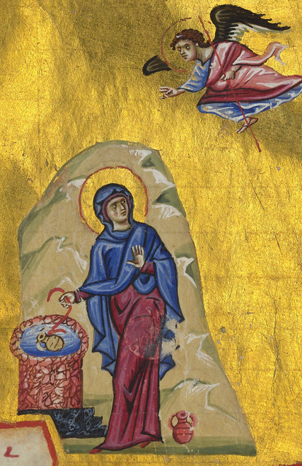 There's never been a doubt that this 12th Century Byzantine icon shows the Annunciation of Mary; wrapped in Marian blue, with a halo the Samaritan woman was never awarded, this figure is also at a well drawing water, startled by an angel above and behind her, her hand drawing back in fear. The Fordham professor says the difference between Eastern and Western depictions of the Annunciation are cultural and theological, and this one is authentically Eastern. (Biblioteque Nationale de France)
