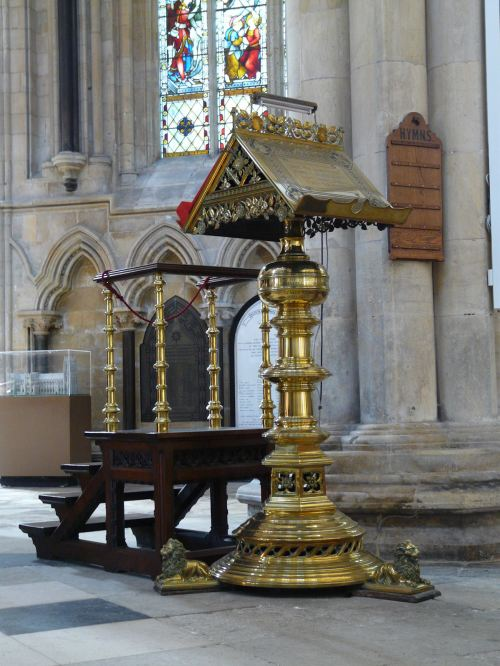 Lectern at Beverley Minster in the East Riding of Yorkshire. This magnificent example of Perpendicular Gothic began rising about 1220, took 200 years to complete, and is now a Grade I listed building. (Wikipedia)