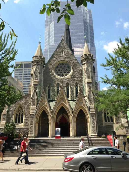 Christ Church Cathedral, Montréal, completed in 1859, a National Historic Site and the regimental church of the Grenadier Guards. Its rear steeple, built of aluminum in 1940, replaced a stone original that was too heavy for the ground it stood on; by 1920 it was leaning over 4 feet. (source unknown)