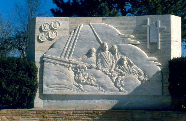 A few members of our community have asked why we didn't observe the Four Dorchester Chaplains of World War II yesterday, depicted above in a bas-relief in Ann Arbor, Michigan. The short answer is that the Episcopal General Convention did not re-authorize a proposed revision of the church calendar containing the chaplains – a Roman Catholic priest, a Methodist minister, a Jewish rabbi and a Reformed Church minister. Thus the official calendar reverts back to the previous one. But we remember their names – Fr. John P. Washington; the Rev. George L. Fox; Rabbi Alexander D. Goode; and the Rev. Clark V. Poling – and their heroism. They gave their lives to save U.S. troops and civilians aboard the Dorchester, helping load them into lifeboats and, when space ran out, giving their own lifejackets that others might be saved. (Wikipedia)