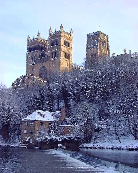Durham Cathedral, on the River Wear. The cathedral, founded in 1093, is one of the best examples of Norman architecture and a World Heritage Site, along with Durham Castle, built as the bishop's palace.