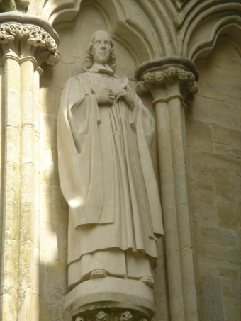 Statue of Herbert at Salisbury Cathedral, just a few miles down the road from where he lived, wrote and died. He used to worship at the cathedral twice a week, and afterward made music with the musicians. (Wikipedia)