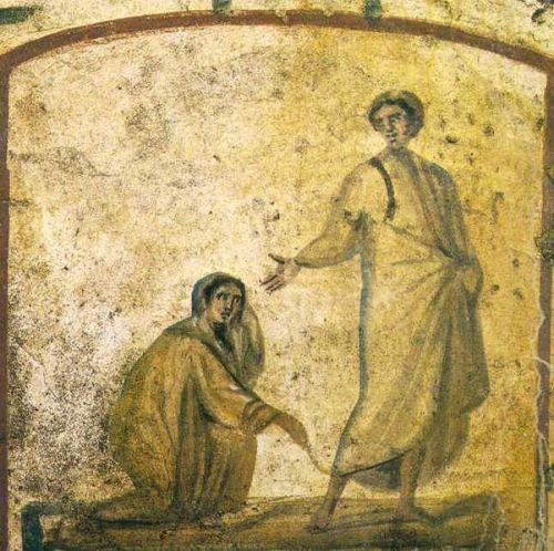 Christ Heals the Bleeding Woman, from the Roman catacombs, 6th Century.