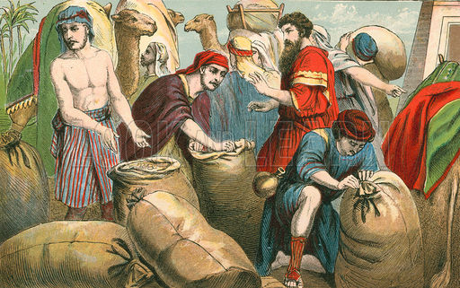 Joseph's brothers find money in their sacks. (Aunt Louisa's Sunday Picture Book)