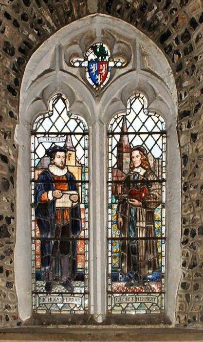 "Nicholas Ferrar and George Herbert windows at Herbert's parish church, St. Andrew's, Bemerton in Wiltshire; it's entirely appropriate these two be shown together. They were best friends at Cambridge, obtained livings two miles apart (with Ferrar at Little Gidding), and when Herbert was near death, he sent his poetry to Farrar to decide whether it should be published. With a preface by Ferrar, ""The Temple"" went through eight printings and established Herbert as one of the masters of English poetry. (Wikipedia)"