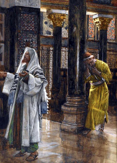 James Tissot: Parable of the Pharisee and the Publican, or Roman tax collector.
