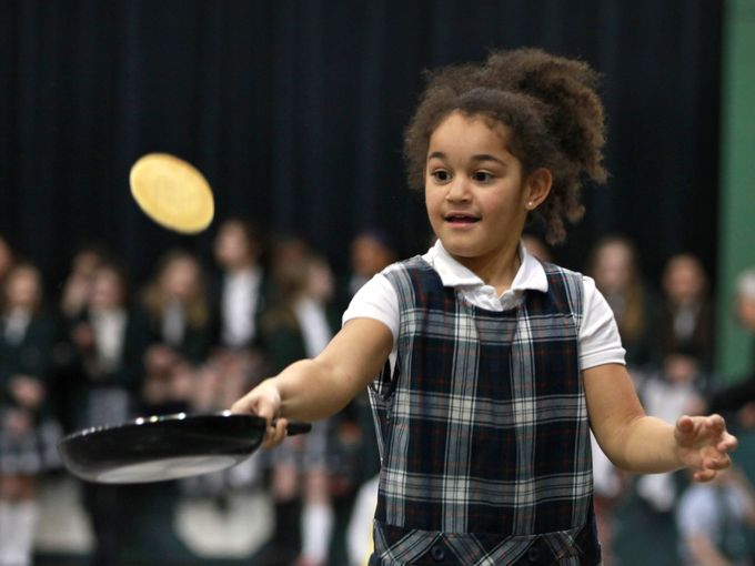 Pancake Race, Run & Flip on Shrove Tuesday 2015 at St. Richard's School, Indianapolis; Lent begins tomorrow, Ash Wednesday. (Kelly Wilkinson/The Indianapolis Star)