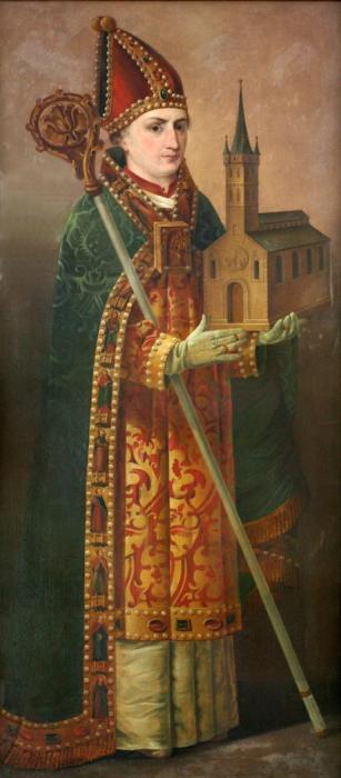 Painting of St. Anskar at Trinity Church, Hamburg, Germany, where he was archbishop. His succeeded as Apostle of the North largely by working with various kings and popes to allow Christianity to be an officially tolerated religion. His direct efforts with the local populations were less effective, but there's no doubt of his commitment to the work; he was motivated from a young age by missionary visions he received. Besides statues erected to him in Hamburg and Copenhagen, and a landmark cross on the Swedish island of Birka, Anskar has a crater on the Moon named for him. (Uwe Barghaan)