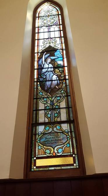 Angel window in our vicar's home parish, St. John's, Lafayette, Indiana. (Cresta Cates)