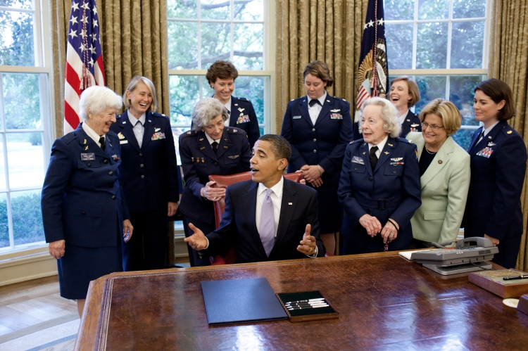 WASP pilot Elaine Harmon, left, at the bill-signing ceremony in 2009 awarding the Congressional Gold Medal to the Women Airforce Service Pilots of World War II. They flew sixty million miles of military missions that were classified as state secrets for 30 years. (Pete Souza/The White House)