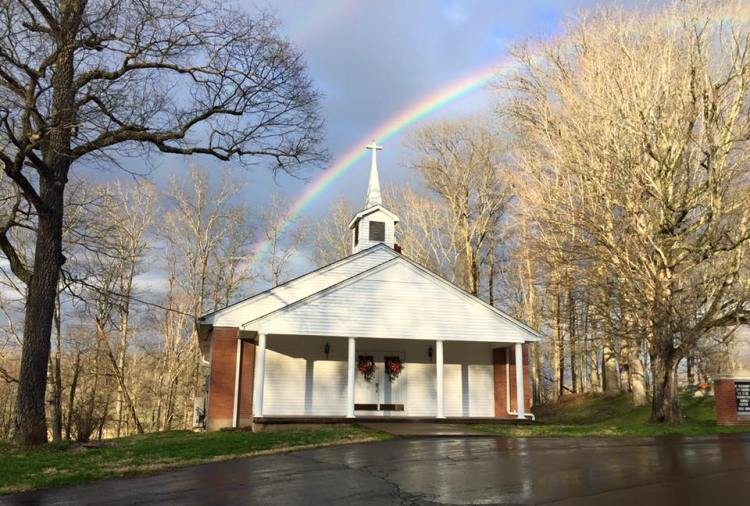 Rainbow over Mt. Pleasant Cumberland Presbyterian Church in Edmonson County, Kentucky, the hometown church of our Deacon Letha Tomes Drury. Cumberland Presbyterians grew out of the Second Great Awakening revival movement in the United States in 1800; they are conservative at times and liberal at others, and were the first Presbyterians to ordain women. (Olivia O'Neal Forester)
