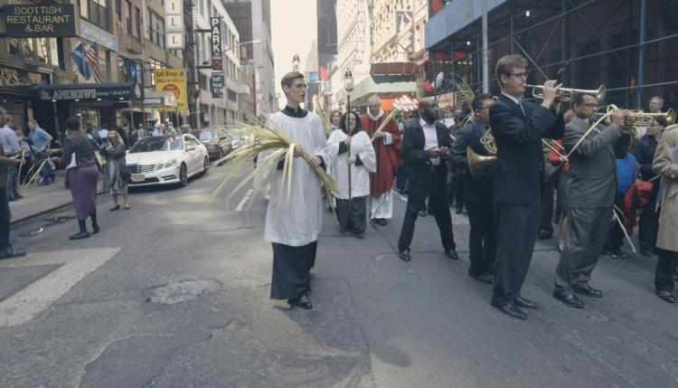 Palm Sunday procession outside the Church of St. Mary the Virgin just off Times Square, New York, 2014. (parish photo)