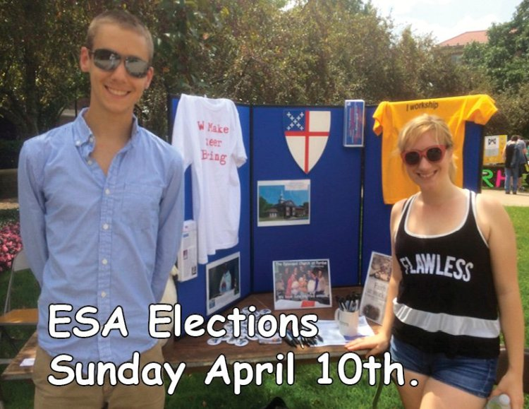 Benjamin Eaton and D. Hrach advertising elections next Sunday for the Episcopal Student Association at Purdue University in West Lafayette, Indiana. I know Ben; he volunteered many days last summer at my parish's food pantry across the river in Lafayette. (Chapel of the Good Shepherd)