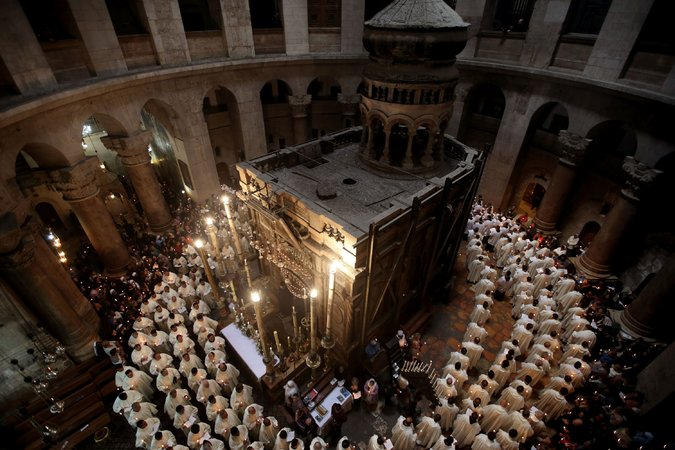 The Mother of all Status Quos may be about to change at the Church of the Holy Sepulcher in Jerusalem, after more than a century of petty jealousy, bickering and occasional fistfights among the three denominations that claim it as the site of Christ's tomb. At a joint news conference, representatives of the Greek Orthodox, Armenian Apostolic and Roman Catholic Churches agreed to go forward with $3.5 million in repairs to keep the structure from falling down on their heads. The work will start after Orthodox Easter in May, and each church will (of course) appoint its own architect – so that they can do the arguing and wrestling matches instead of the monks. (Gail Tibbon/AFP)
