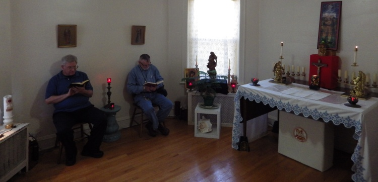 Praying the Daily Office in the chapel of the Community of the Mother of Jesus. (community website)