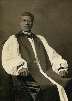 Bishop Edward T. Demby, about 1919. A native of freeborn parents in Wilmington, Delaware, Demby was ordained in the African Methodist Episcopal Church and serving as dean of students at Paul Quinn College in Texas when he felt the call to become Episcopalian. He was ordained to the priesthood in 1899 and served churches in Missouri, Illinois, Florida and Tennessee before being elected Suffragan Bishop of Arkansas in 1918 – with no salary or housing. A few years later the national Episcopal Church began paying him; he founded churches and schools and advocated for the end of segregation. In 1932 racists in his diocese elected a new bishop, whom the General Convention refused to seat, and Demby once again was a bishop in name only. But he continued to work at the national level, served on numerous commissions and wrote many books and articles. He lived long enough to see the desegregation of schools and died in 1957. (National Portrait Gallery)
