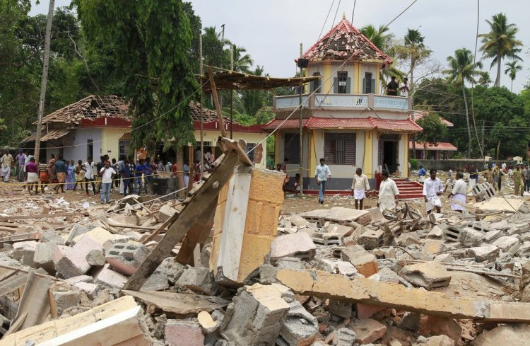 The fireworks disaster at the Hindu temple early Sunday morning; the death toll has risen to 110. A criminal case has been opened, but no one has been arrested yet; CNN reports the temple didn't have a fireworks permit. Other reports say 15 temple board members have fled. (Religion News Service)