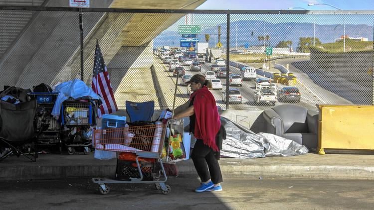 Homeless people in Los Angeles frequently camp out on freeway overpasses, which makes their environment polluted and noisy, and themselves highly visible. Now Mayor Eric Garcetti has unveiled a 10-year, $1 billion plan – only partially funded – to get them off the streets and into safety. (Irfan Khan/Los Angeles Times)