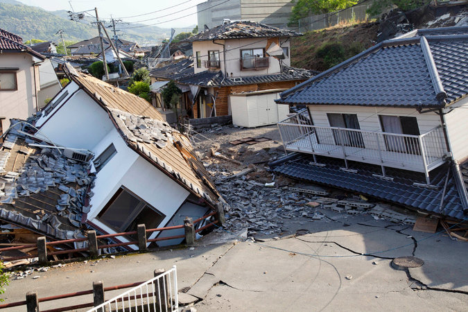 We offer prayers for the area around Mashiki, Japan and the 42 killed in earthquakes Thursday and Saturday, as well as for those injured and displaced. Japan is very prone to earthquakes, but many of these homes were made of wood. (Ko Sasaki/The New York Times)