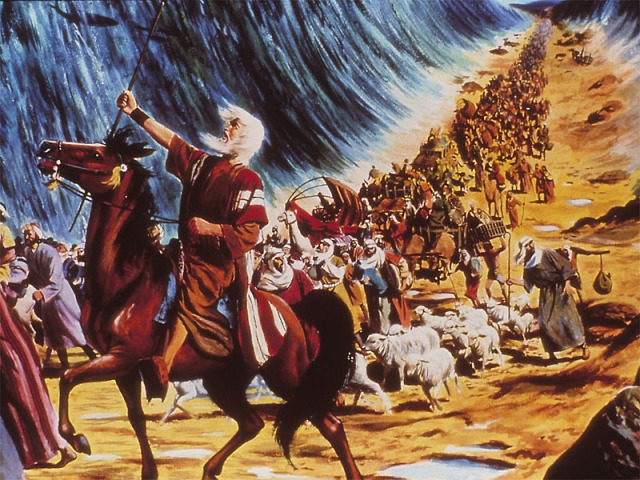 Parting of the Red Sea; artist unknown.