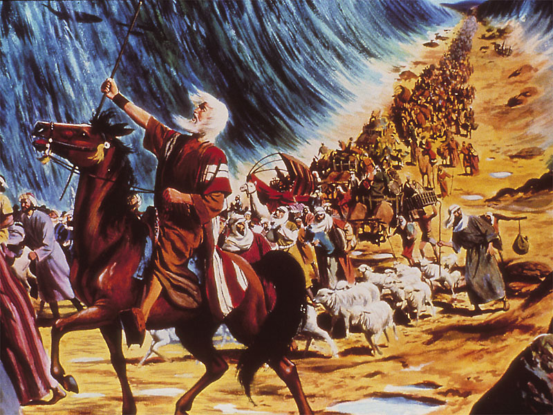 Parting of the Red Sea, with the people of Israel walking behind Moses. (artist unknown)