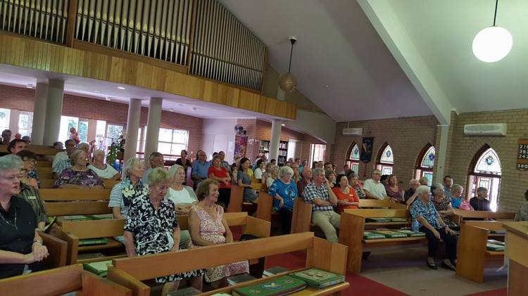 St. Mark's, Buderim, Queensland, last week, listening to an interfaith presentation with Christian and Muslim speakers. (Nora Amath)
