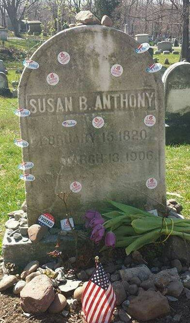 "New York State held its presidential primary last week (and five states are voting today), after which the grave of suffragist Susan B. Anthony in Rochester, N.Y. was festooned with flowers and ""I Voted"" stickers; locals say this happens every time there's an election. Anthony will join the list of women and African-Americans to be honored on paper money in a few years, the Treasury Department says. (Ted Sakshaug)"