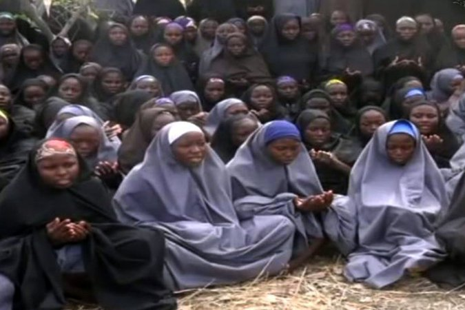 Schoolgirls kidnapped by Boko Haram in northern Nigeria in 2014. One girl was reported today to have been found and returned to her home village. (Still from video, Agence France-Presse)