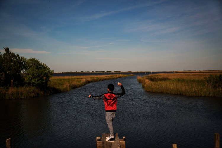 A boy throwing rocks into the bayou in Isle de Jean Charles; nothing to do. (Josh Haner/The New York Times)