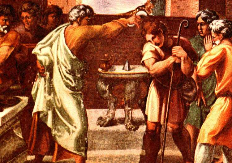 Raphael: David Anointed by Samuel. (Fresco, Raphael's Loggia, Vatican Palace)