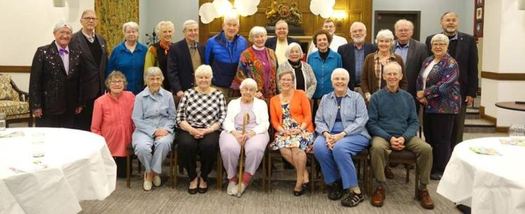Retired clergy of the Diocese of Indianapolis at a luncheon on Ascension Day with their Bishop, Cate Waynick (center, in red) – who is soon to join them. Retired clergy give so much to the Church, with many of them continuing to serve in some capacity for the rest of their lives. (diocesan photo)