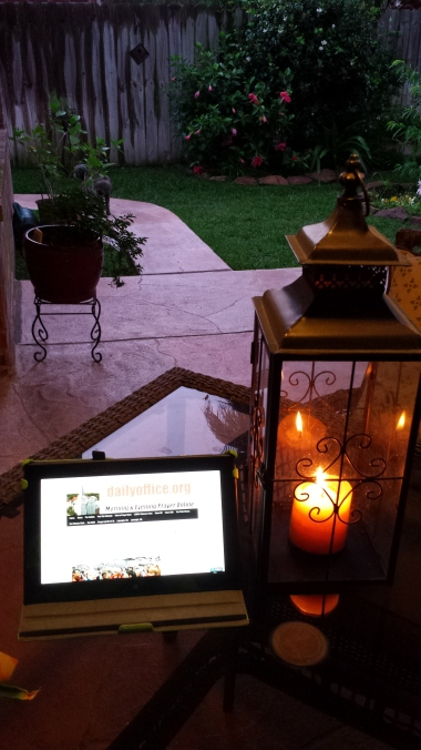 One of our webcasters sent this delightful photo, reading Evening Prayer on her laptop while enjoying her patio. (Linda Barry)