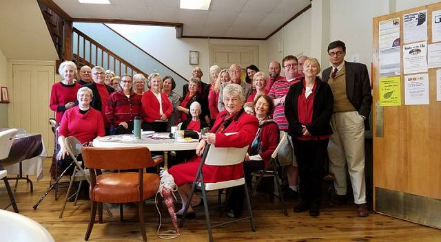The parish after-party on the Feast of Pentecost at Christ Church, Madison, Indiana, where red was nearly unanimous. (The Rev. Evelyn Wheeler)