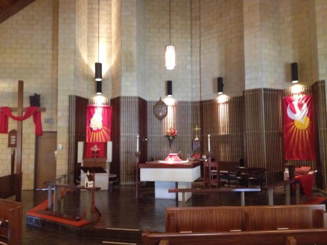 Pentecost altar two years ago at Holy Trinity, Bartow, Florida. (The Rev. Gary Jackson)
