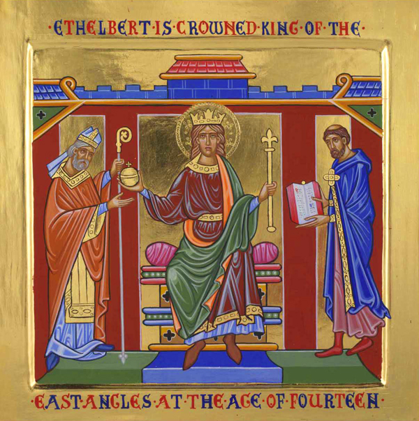 Ethelbert's reign is very well documented. Besides Bede's extensive writings, Pope Gregory the Great was naturally concerned with the progress of St. Augustine's mission, and wrote to the king on his conversion. The Anglo-Saxon Chronicle, c. 890, discusses events in Kent during the period; an 11th Century copy of Ethelbert's code of law is still extant at Hereford Cathedral; and Alfred the Great used Ethelbert's code as one basis of his own set of laws. The icon above is one of a series of panels on Ethelbert displayed at Hereford.