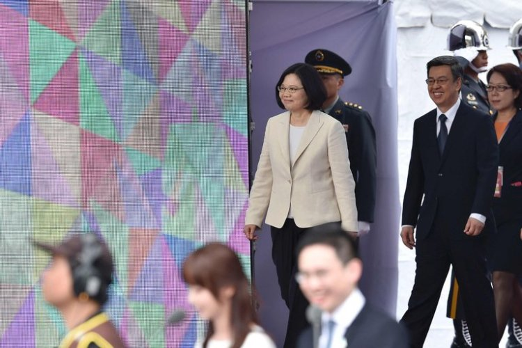 Tsai Ing-wen, first woman president of Taiwan, at her inauguration Thursday. In her address she indicated that she will take a more cautious approach to mainland China than her Kuomintang predecessor.