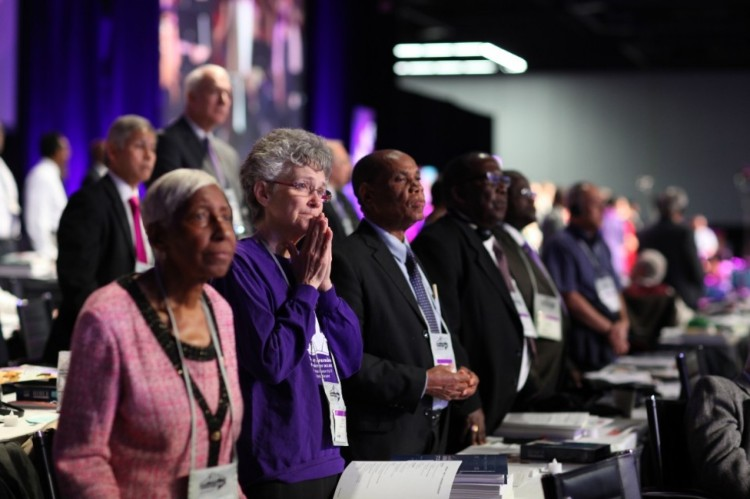 We ask your prayers for the United Methodist General Conference, currently meeting in Portland, Oregon amid deep divisions among conservatives, centrists and progressives, and between Americans, Africans and Asians. May the Holy Spirit guide them in all their decisions, particularly as concerns their governance structure, as they find that beliefs in one part of the world raise adamant opposition in another. May they discover ways to stay in communion even if they part over theological understandings, as they have so much in common. (Kathleen Berry/United Methodist News Service)