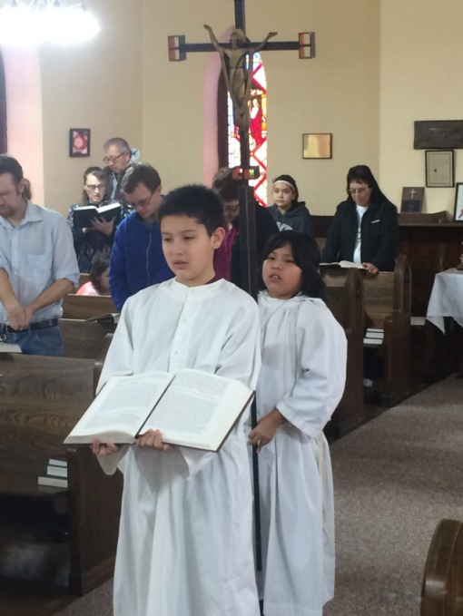 Slade and Mauricio, acolytes at Trinity Church, Mission, South Dakota on the Rosebud Reservation. This was Slade's first time of serving; Mauricio is the experienced one. (The Rev. Dr. Lauren Stanley)