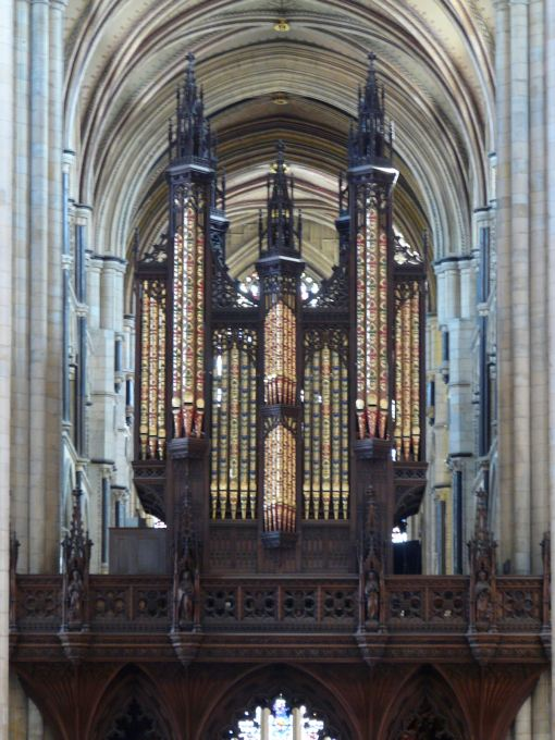 The famous organ case at Beverley Minster. (Wikipedia)