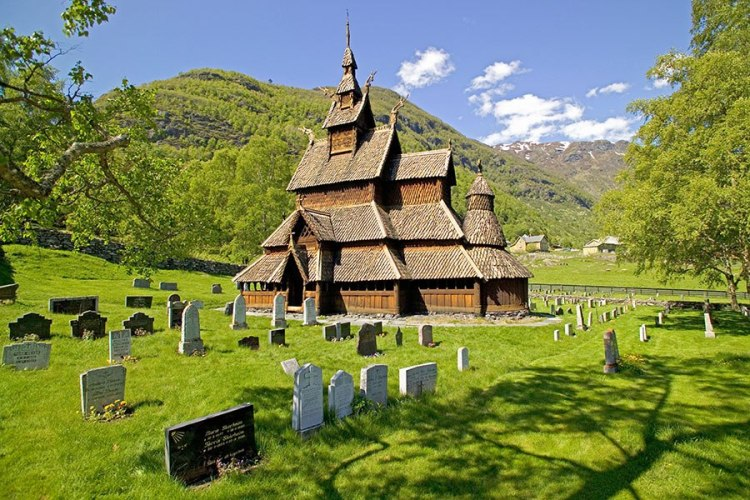Stave church, Borgund, Norway: they're very proud of these traditional wooden churches in Norway with their ingenious construction, and congregations work hard to preserve them. (Jason Lindsey/Alamy)