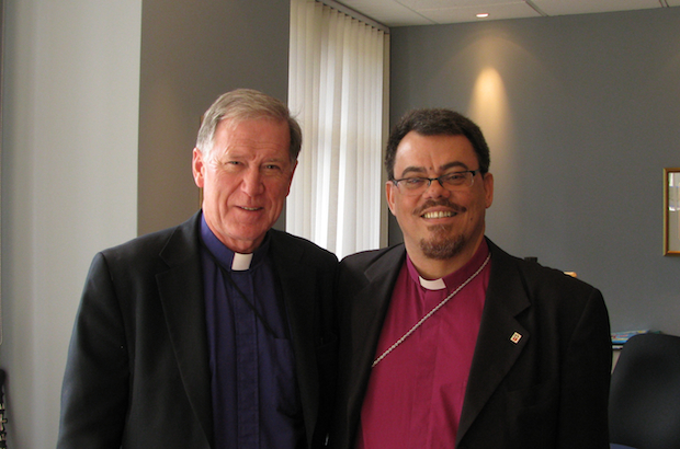 Anglican churches in Canada and Brazil have developed close ties over the years, as evident in this photo of a November visit between Archbishops Fred Hiltz of Canada and Francisco de Assis da Silva of Brazil. Two Brazilian dioceses are mission partners with counterparts up north. Both churches have a social gospel orientation, both have dealt with sexual orientation issues and both have a history of oppression of indigenous peoples; Brazilians were eager to hear about Canada's Truth and Reconciliation Commission. (André Forget/Anglican Journal)