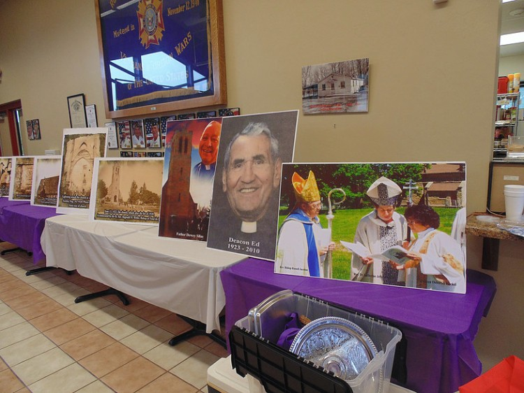 A display at Holy Apostles, Oneida, Wisconsin – Father Hill's church – commemorating their 175th anniversary, including a photo of the visit by then-Presiding Bishop Katharine Jefferts Schori. (parish photo)